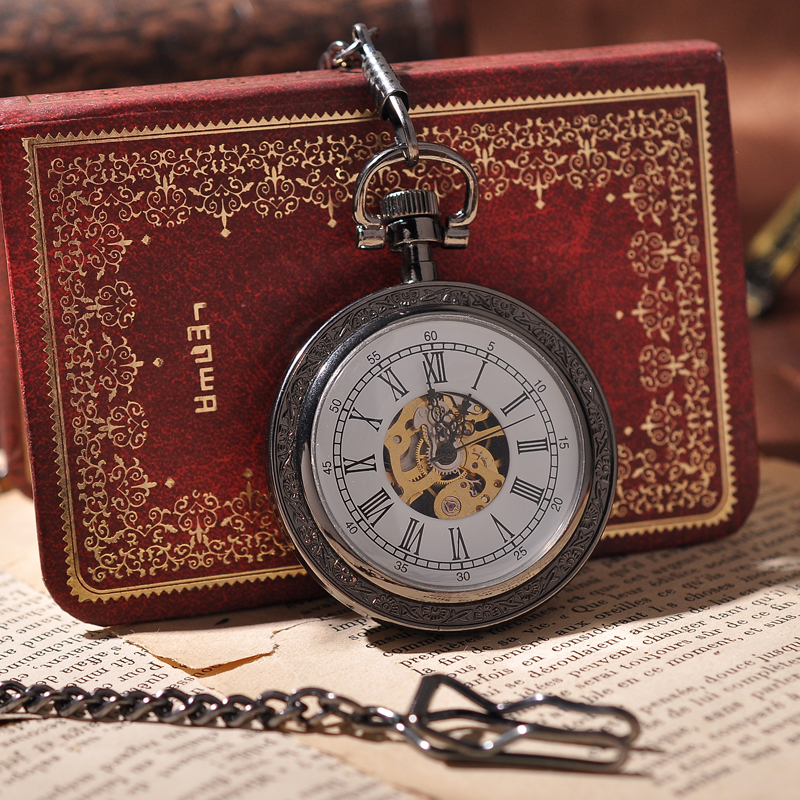 mens gold pocket watch promotion shop for promotional mens gold r number white dial men mechanical pocket watch gold movement leather cover antique cool luxury watch chain necklace
