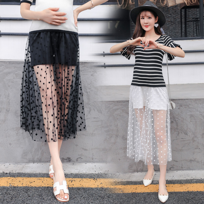Pregnant women single layer dots net yarn long skirt stitching shorts summer care belly lace mesh yarn dress