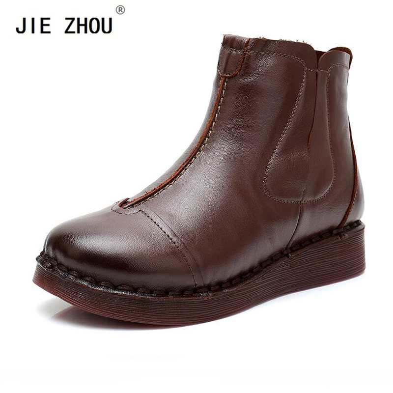 купить Fashion Women's Boots Handmade Boots New Winter Genuine Leather Wedge Boots Retro Ankle Boots Women Shoes zapatos de mujer по цене 2565.55 рублей