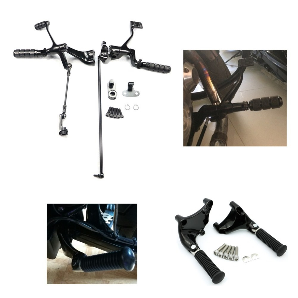 Complete Forward + Rear Controls Foot Pegs Pedal Mount Levers Linkages For Harley Sportster XL 883 1200 Custom Super Low 2014 UP