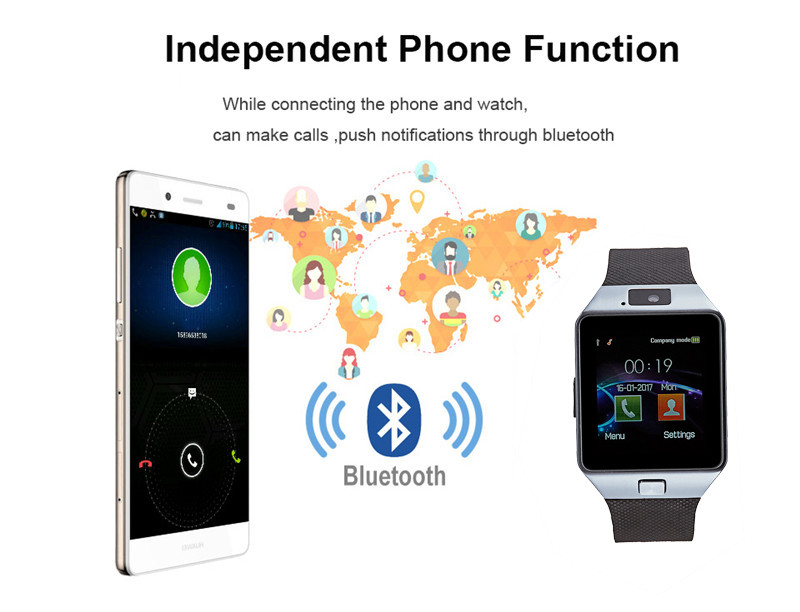 Smart Watch DZ09 Android Phone TF Sim Card Camera Men Women Sport Wristwatch with Packing Box black one size 13