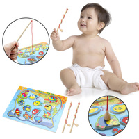1 Pc New Funny Baby Kids Magnetic Fishing Game Board Wooden Jigsaw Puzzle Educational Toys Gift