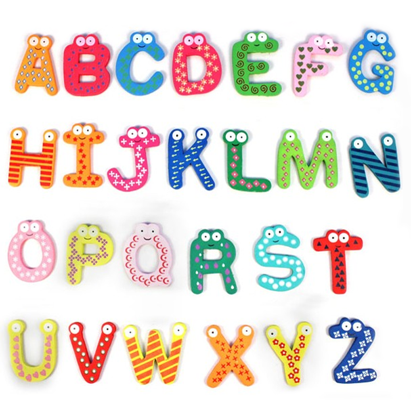 26 Pcs Early Learning Magnetic Wooden Cartoon Alphabet