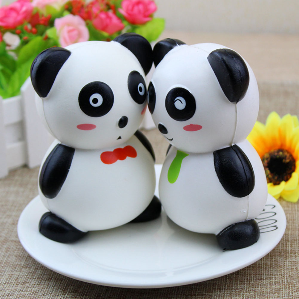 color random Panda slow rebound pinch pressure decompression toy Fun Crazy Panda Scented Charm Slow Rising Simulation Toy