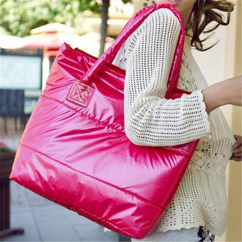 Limited Promotion Vacuum Cotton Quilted Bag Over Shoulder Bags 2017 Winter Women Casual Patent Leather Tote Handbags 10 In From