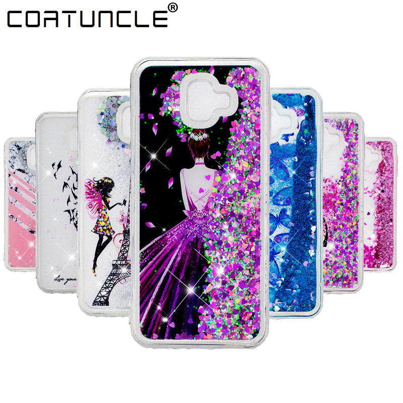 J6 Plus Case on For Fundas Samsung Galaxy J6 Plus Case Liquid Glitter Soft TPU Cover For Coque Samsung Galaxy J6 Plus Phone Case