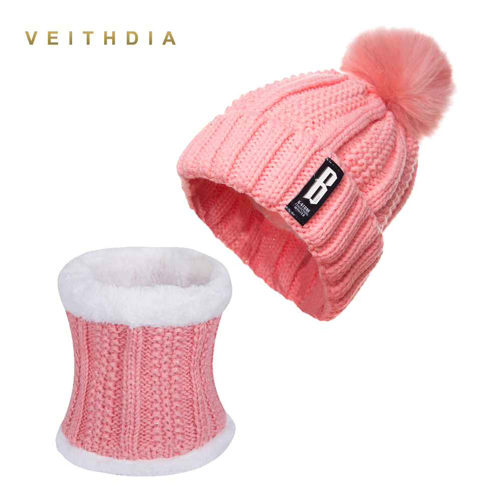 VEITHDIA 2018 New Pom Poms Winter Hat and Scarf or Women Fashion Solid Warm Hats Knitted   Beanies   Cap Brand Thick Female Cap