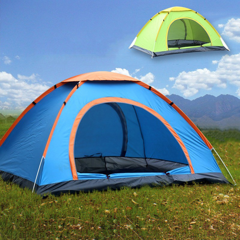 Outdoor Hiking Camping Tent Automatic Opening 3-4 Person Travel Play Tent Single Layer Three-season Tent with Carrying Bag outdoor camping hiking automatic camping tent 4person double layer family tent sun shelter gazebo beach tent awning tourist tent