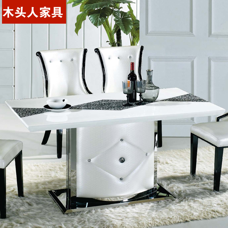 Charmant Korean Fashion Long Table White Dining Table Small Apartment Eight European  Minimalist White Marble Table Dining Table And Chair In Nail Tables From ...