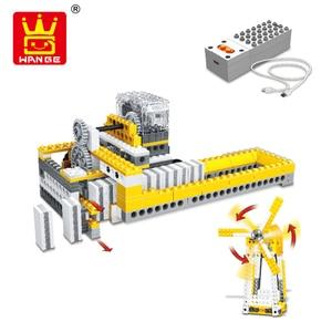 Image 5 - WANGE 4 in 1 Electronic Power Machinery Blocks DIY Creative Blocks Racing Car Toys Educational Building Block Toys for Children