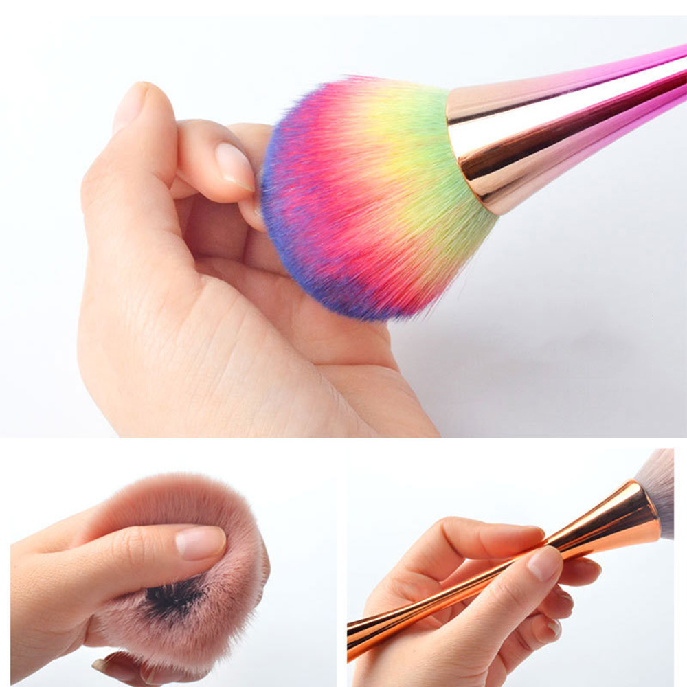 New Colorful Nail Dust Clean Brush Aluminum Soft Head Single Acrylic&UV Gel Nail Art Cleaner Powder Remover Brush Manicure Tool
