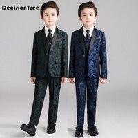 2019 new kids suits blazers baby boys shirt overalls coat tie suit boys formal wedding wear cotton children clothing