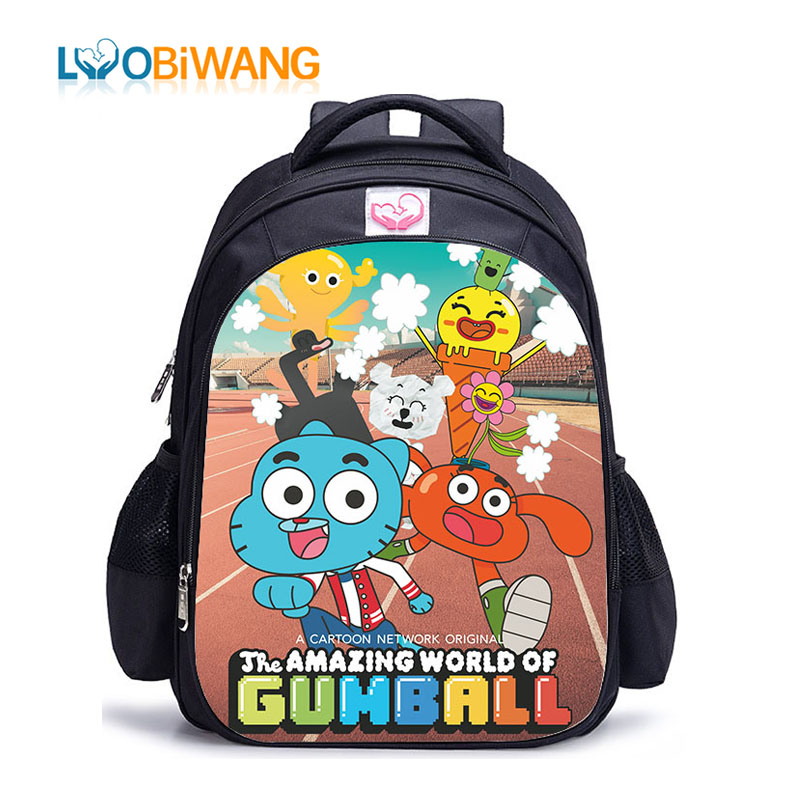 LUOBIWANG The Amazing World Of Gumball Backpack For Teenager Boys And Girls Teenager Schoolbags Satchel Kids Book Bag Mochila