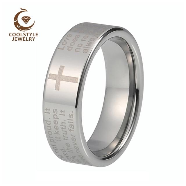 Men Women 8mm Tungsten Carbide Wedding Band Ring With English Bible