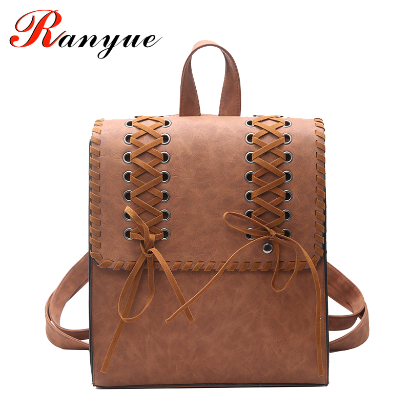 RANYUE Women's Backpack Weave PU Leather School Bag For Teenagers Girls College Wind School Book Backpack Travel Bolsas Mochila 12mm waterproof soprano concert ukulele bag case backpack 23 24 26 inch ukelele beige mini guitar accessories gig pu leather