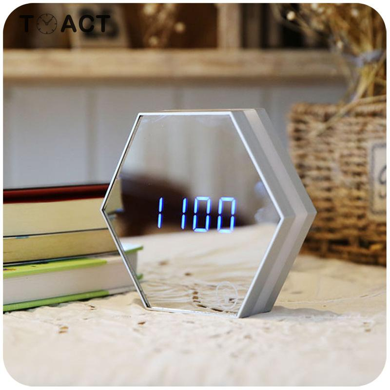 LED Mirror Alarm Clocks with Temperature Display Powered with USB Used as Night Light Useful for Home and Office 2