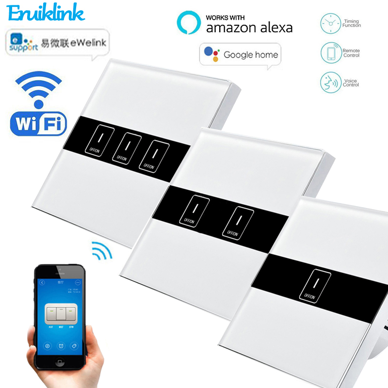 eWelink Wifi Switch for Smart Home EU 1/2/ 3 Gang Wall Light Wireless Switch Remote Control Via APP Works With Alexa Google Home sonoff t1 us smart touch wall switch 1 2 3 gang wifi 315 rf app remote smart home works with amazon free ios and app ewelink