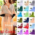 Free shipping Women's Pashmina Tassel Imitation Cashmere Knitted Scarf Wrap Shawl scarves 40 Colors Solid Candy Multiple colors
