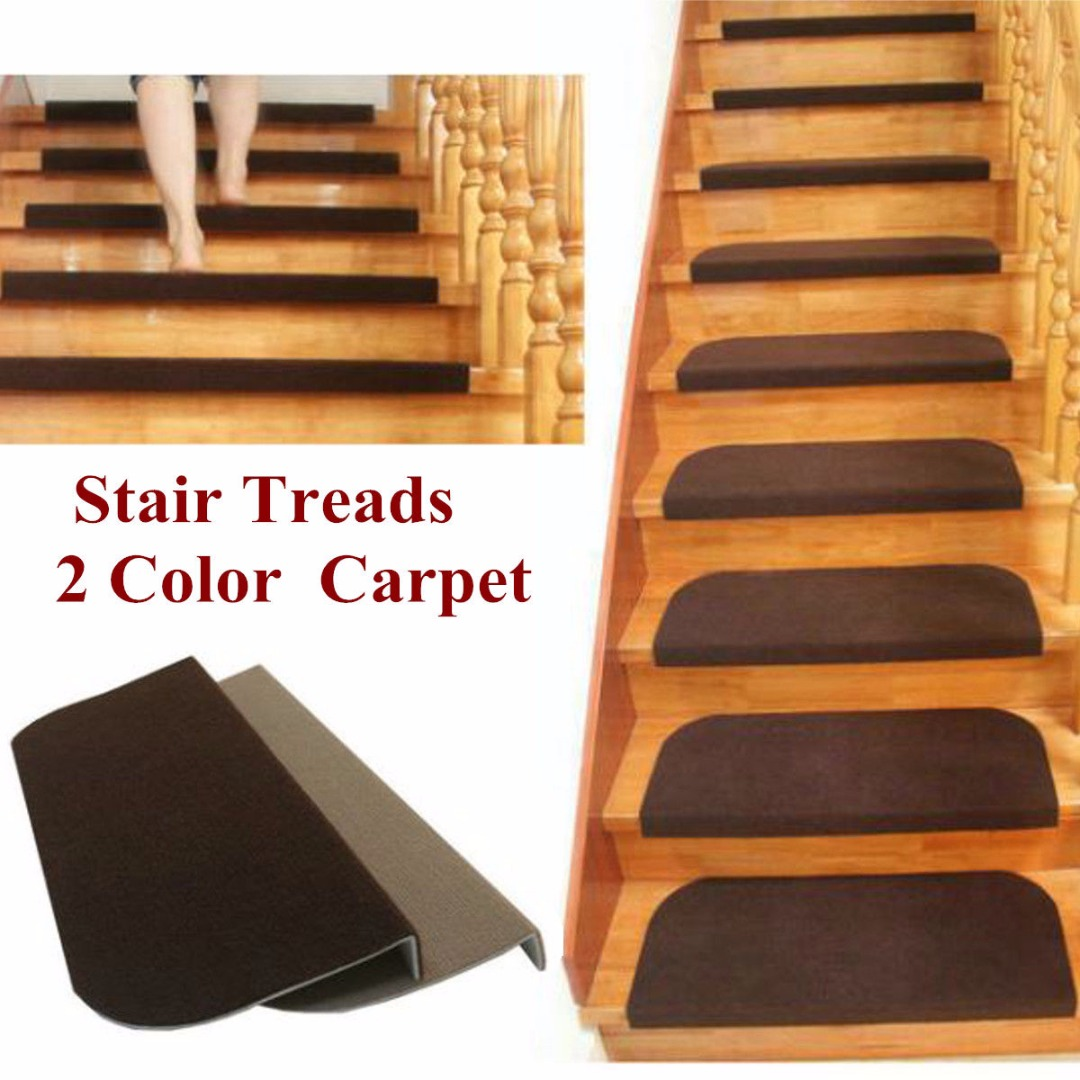 Hot Sale Non-slip Adhesive Carpet Stair Treads Mats Mayitr Staircase Step Rug Protection Cover 2 Colors ...