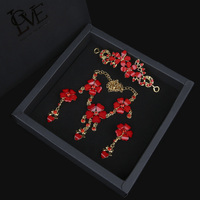 DIDNOT Red Crystal Bridal Wedding Flower Necklace Earrings Sets Wedding Party Heart Zircon Jewelry Sets Wedding