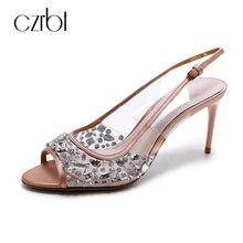 Czrbt модные туфли со стразами пикантные сандалии с открытым носком Вернуться Wrap прозрачные боковые бокал высокий тонкий каблук Летняя обувь для вечеринок женские