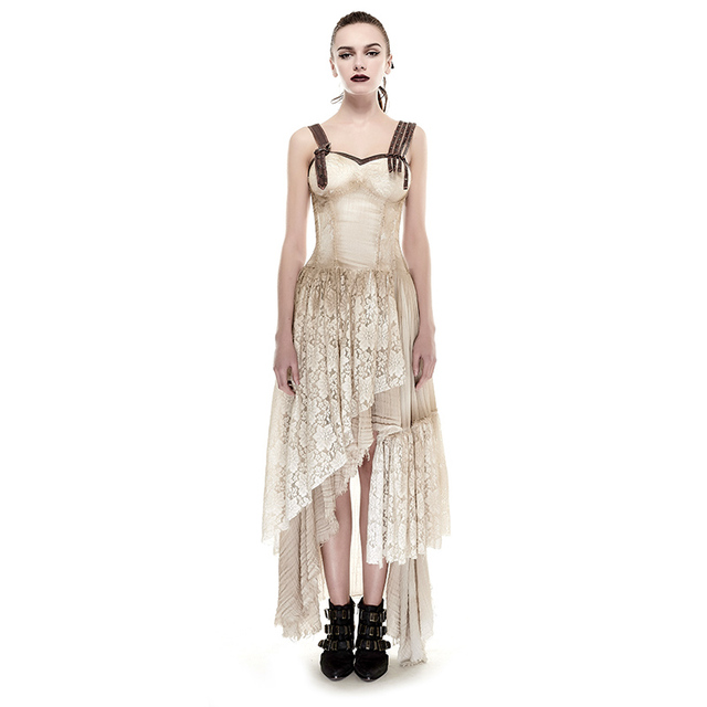 caad577de121d Asymmetric Hem Lace Matching Do Old Steampunk Dress Vintage Sexy Sleeveless  Party Long Dress