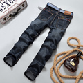 2016 Осень Зима Более Толстые и теплые мужские джинсы прямые тонкий случайные мужские джинсы мужчин брюки хлопок мужская одежда брюки 2018