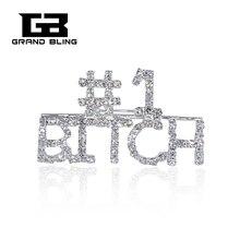 Shining Silver Clear Rhinestones Handmade Brooch Jewelry #1 BITCH Word Pin FREE SHIPPING