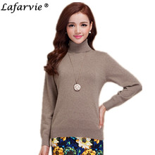 Lafarvie 2017 Slim Cashmere Blended Knitted Sweaters Women Tops Turtleneck Full Sleeve Fashion Female Pullovers Solid Color Pull