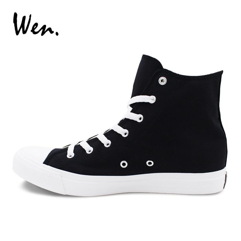 Personalizado Las Plana Deporte Zapatos Corbata Mano Zapatillas Hombres A Lienzo Pintado Wen Gato Alta Mujeres Sr Negro Cordones Traje Diseñadores De qcZtpwR