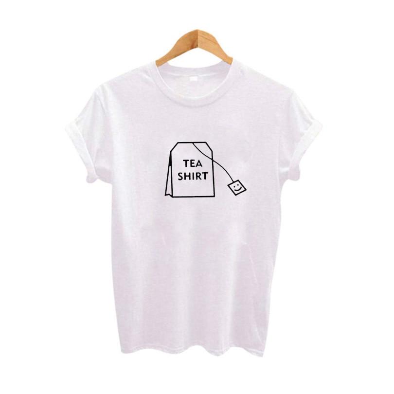 Humor Chá Camisa t do Gráfico Mulheres Roupas de Verão 2017 camisas Engraçadas de t Harajuku Tumblr Hipster Senhoras T-shirt