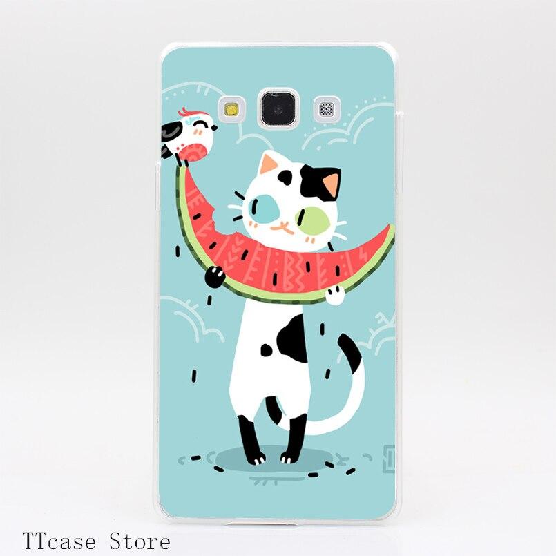 4002CA Watermelon Cat Transparent Hard Cover Case for Galaxy A3 A5 A7 A8 Note 2 3 4 5 J5 J7 Grand 2 & Prime