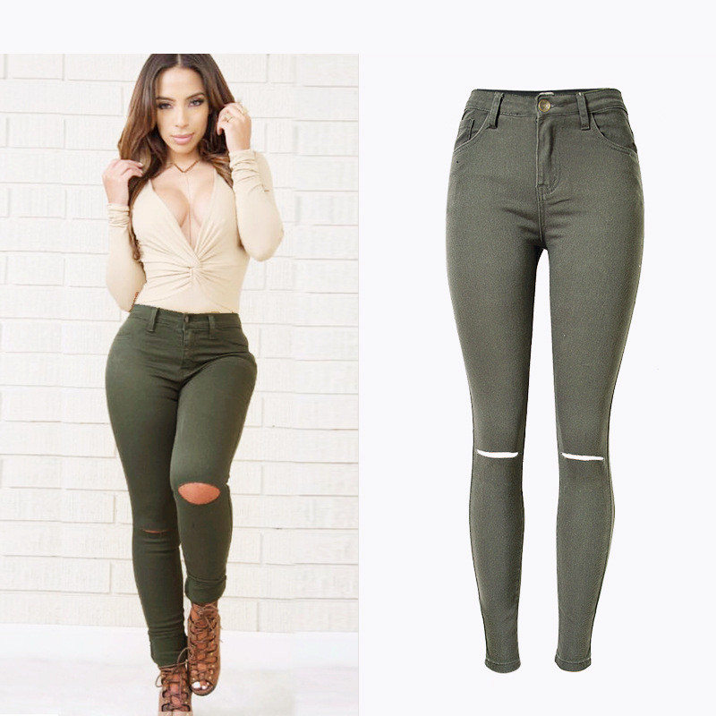 Jeans Ropped Sexy Fashion Elastic Stretch Skinny Jeans Denim Full-Length Butt Push Up Sexy Beautiful Women Green Jeans Feminino
