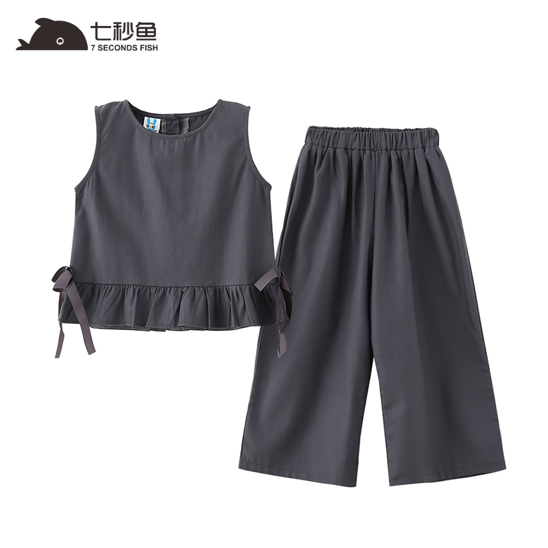 2018 New Summer season Informal Youngsters Units Gray Prime+ Pants Women Clothes Units Youngsters Summer season Go well with For 4-13 Years Cotton Trend