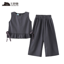 2019 New Summer Casual Children Sets  grey top+ Pants Girls Clothing Kids Suit For 4-13 Years cotton fashion