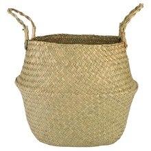 Flower Pot Basket Straw Folding Storage Baskets Vase Hanging Baskets Home Flower Storage Basket Garden Pot Planter Organization