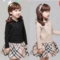 Europen estilo Novo 2016 do inverno da menina roupas crianças vestidos de desgaste de Algodão Com Capuz xadrez Clássico T-shirt de manga comprida 3-8 anos