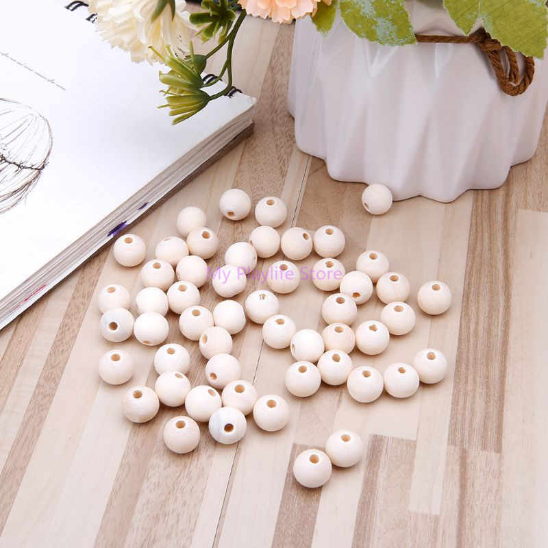 50 Pcs Natural Wooden Beads Toys Bird Parrot Hamster Small Pets Bite Chew DIY Toy Jewelry Necklace Pendant Bead Decor 6-12mm C42