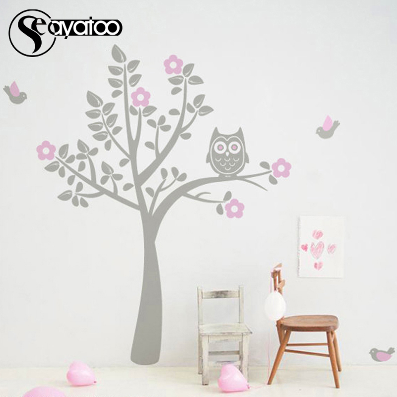 Tree Flowers Owl Birds Removable Vinyl Wall Sticker Decal Bedroom Nursery Stickers Home Decor 180x180cm