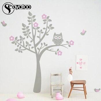 Tree Flowers Owl Birds Removable Vinyl Wall Sticker Decal Bedroom Nursery Stickers Home Decor Stickers 180x180cm