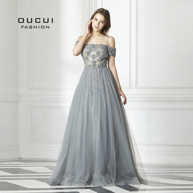 2019 New Sexy Backless Long Evening Dress Tulle  Formal Handmade Crystal Ball Gown Boat Neck Spaghetti Strap Hot Drill OL103016