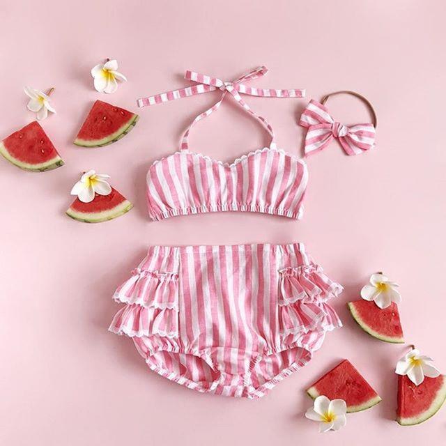 07da1d3b1675f6 Peuter Kids Baby Meisjes Bikini Set Roze Gestreepte Ruches Badmode Badpak  Badpak Beachwear