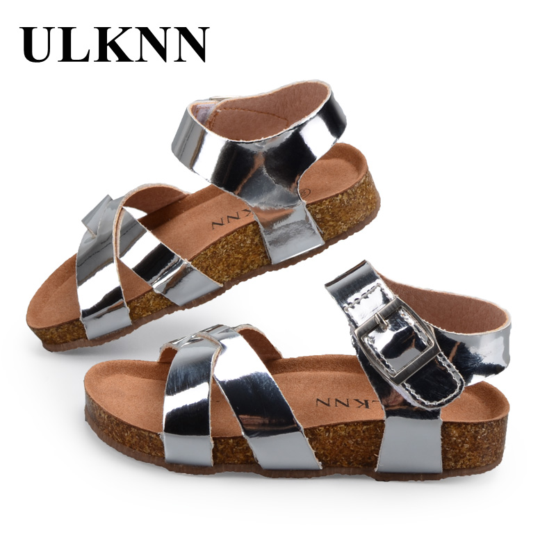 ULKNN Boys Girls Sandals Shoes For Children Gladiator Glitter PU leather Beach School Shoes 2018