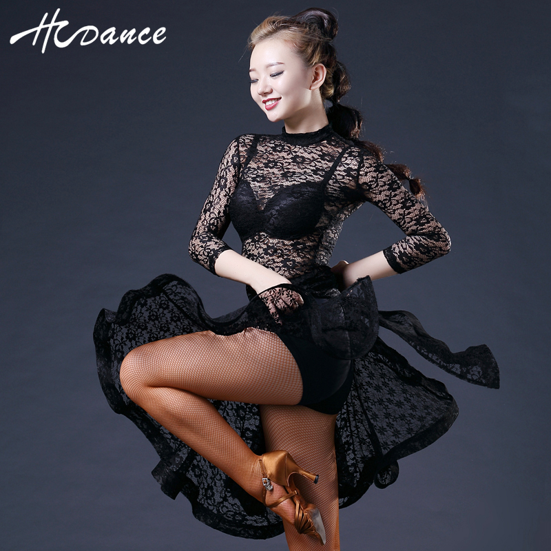 New Brand one Colors Latin Dance Dress Women Sleeve Lace Silk Sexy Latin Dress for Women Tango Dress Hot Sale Hcdance A373