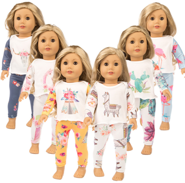 2 Sets Frog Pajamas Suits Nightwear For America 18 inch Girl Doll Clothes Dress