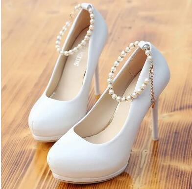 12cm super high heels pumps shoes woman round toes TG1533 ankle beading pearls straps ladies womans party platform shoes