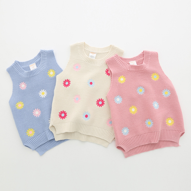 2016 Nuevos Bebés de la Llegada Suéter Chaleco Niñas Chaleco bordado Niño de Flor de La Manera Floral Suéteres Sleevelesss