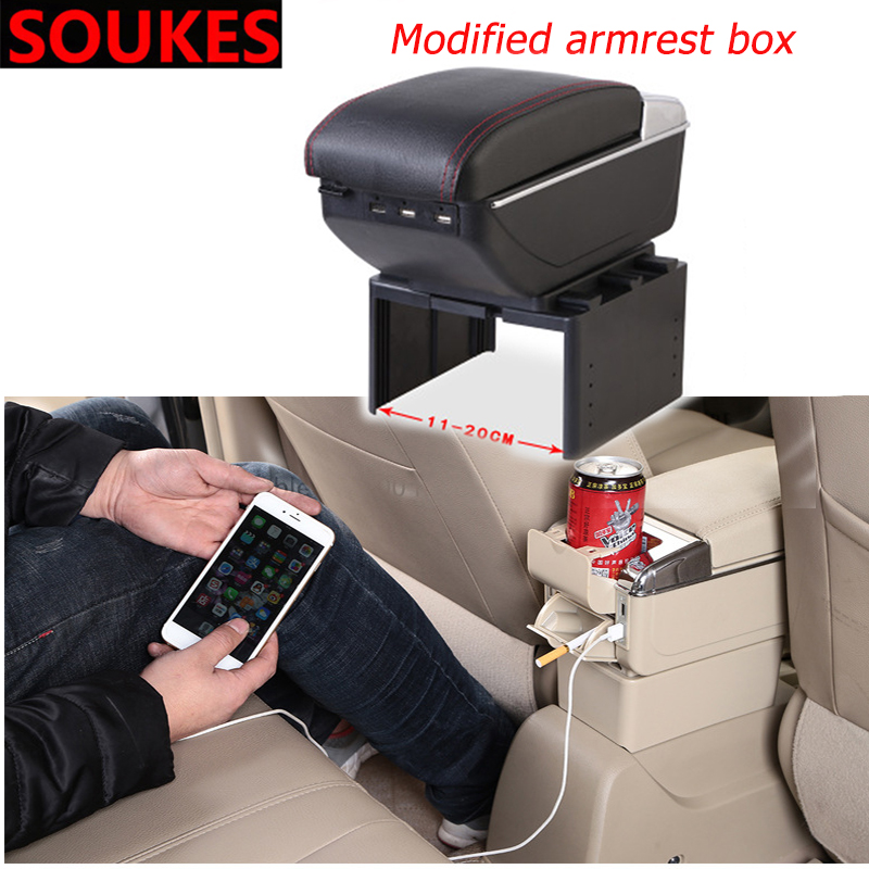 Multifunctional Car universal Center Console <font><b>Armrest</b></font> Box For Volvo S60 V70 XC90 Subaru Forester <font><b>Peugeot</b></font> 307 <font><b>206</b></font> 308 407 image