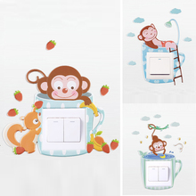 cute cartoon monkey wall silicone on-off switch stickers kids rooms light outlet home decorations 3d animal decals