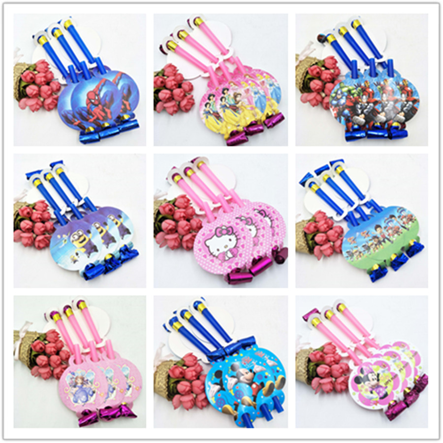 6pcs Trolls/Puppy Partol/Moana Princess Sofia/Snow White/Avengers/Hulk/Minions Cartoon Characters Noise Maker & Party Blowouts